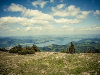 austria, mountain, lake wallpaper