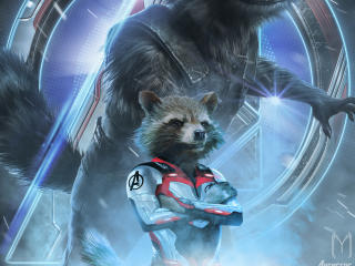 Avengers Endgame Rocket Raccoon Poster Art wallpaper