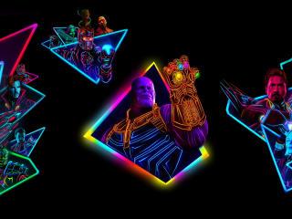 Avengers Infinity War 80s Neon Style Art wallpaper