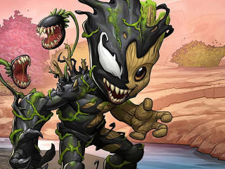 Baby Groot and Venom wallpaper