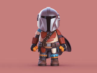 Baby Mandalorian Illustration Art wallpaper