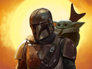 Baby Yoda and Mandalorian FanArt wallpaper