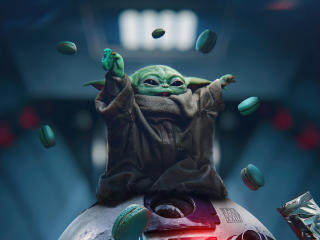 Baby Yoda eating Oreos wallpaper