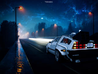 Back to the Future DeLorean Car Illustration wallpaper