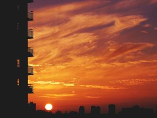 balcony, sunset, sky wallpaper