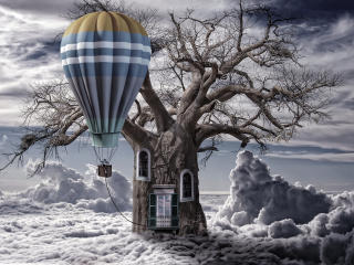 balloon, clouds, tree wallpaper