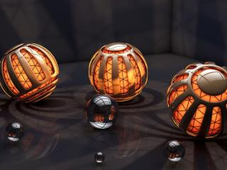 balls, lights, rendering wallpaper