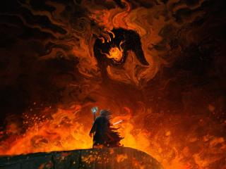 Balrog vs Gandalf Lord Of The Rings wallpaper