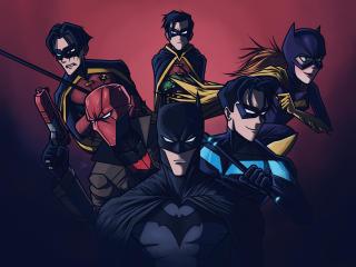 Batman and his Team Digital wallpaper