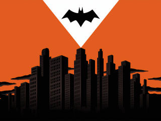 Batman Logo Over Gotham City wallpaper
