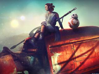 BB8 And Rey Star Wars Artwork wallpaper