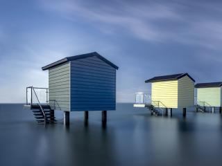 Beach House Seascape Photography wallpaper