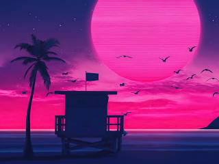 Beach Retro Wave wallpaper