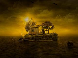 Beautiful Island House wallpaper