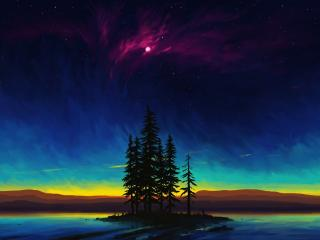Beautiful Landscape Night Digital wallpaper