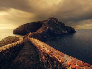 Beautiful Lighthouse with Rock Bridge wallpaper