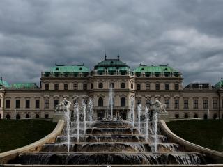 belvedere, buildings, fountain wallpaper