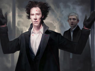 Benedict Cumberbatch And Martin Freeman Sherlock Artwork wallpaper