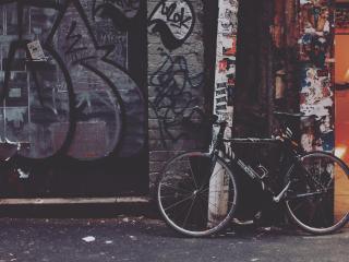 bicycle, yard, graffiti wallpaper