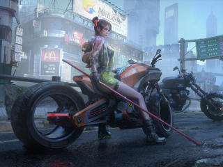 Biker Girl Futuristic wallpaper