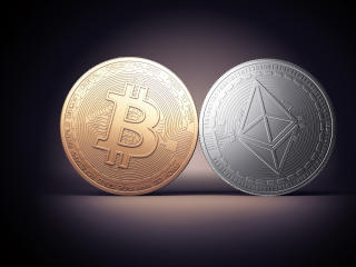 Bitcoin and Ethereum wallpaper