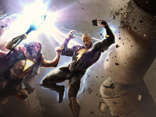 Black Adam vs Shazam DC Art wallpaper