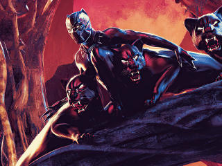 Black Panther Cool Digital Comic Art wallpaper
