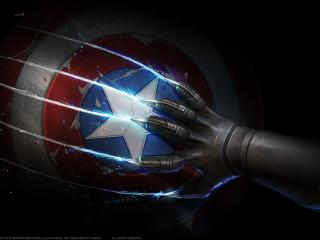 Black Panther Scratches Captain Americas Shield wallpaper
