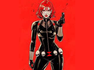 Black Widow Red Hair Digital Art wallpaper