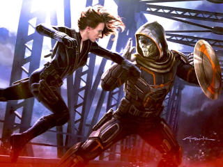 Black Widow vs Taskmaster Art wallpaper