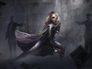 Blonde Cyborg Cyberpunk wallpaper