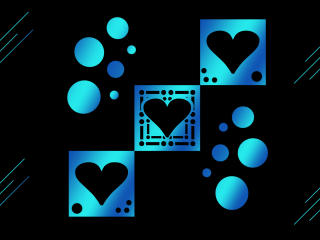 Blue Color Heart and Circle Shapes wallpaper