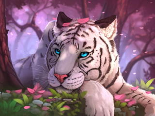 Blue Eyes White Tiger In Fantasy World wallpaper