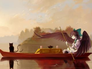 boat, girl, angel wallpaper