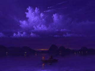 Boating at Night Digital Art wallpaper