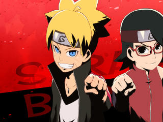 Boruto Uzumaki and Sarada Uchiha wallpaper
