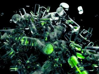 bottles, explosion, glass wallpaper