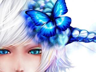 bouno satoshi, butterfly, girl wallpaper