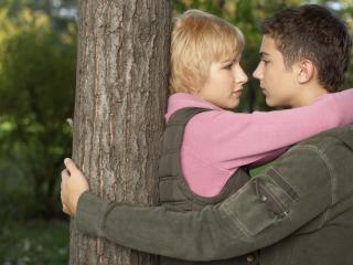 boy, girl, tree wallpaper