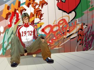 boy, graffiti, skate wallpaper