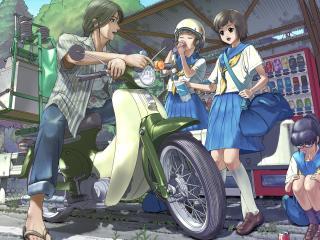 boy, scooter girl, helmet wallpaper