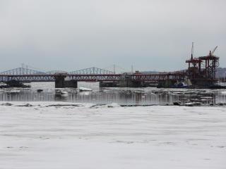 bridge, river, buildings wallpaper
