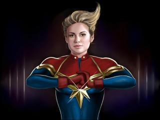 Brie Larson as Captain Marvel Illustration wallpaper