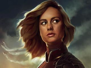 Brie Larson Captain Marvel Artwork wallpaper