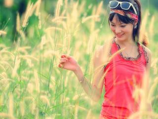 brunette, girl, grass wallpaper