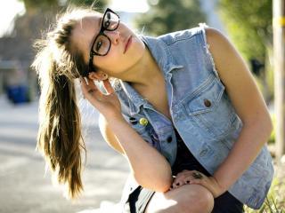 brunette, glasses, sun wallpaper