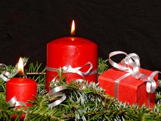 candles, needles, tape wallpaper