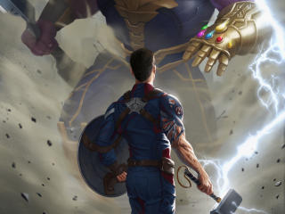 Captain America Against Thanos Endgame Art wallpaper