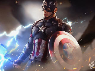 Captain America Holding Thor's Hammer wallpaper