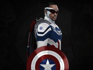 Captain America Sam Wilson Minimal 4K wallpaper